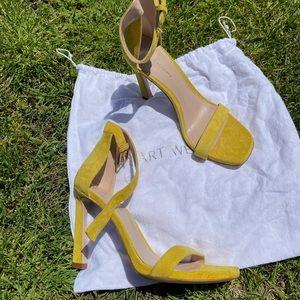 Auth New Stuart Weitzman yellow square nudist heel